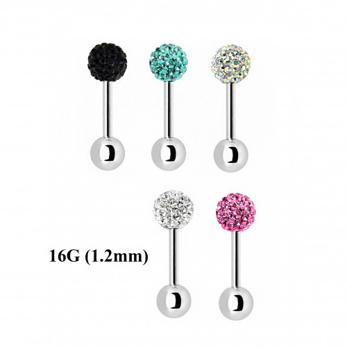 Surgical Steel 316L Multi Crystal Barbell 16G- Swarovski Crystals - Epoxy Coated ‐ Quality tested by Sheffield Assay Office England