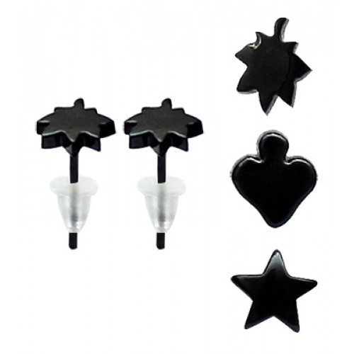 Black Coated UPVC Various Fashion Stud Earrings with Various Logo Design