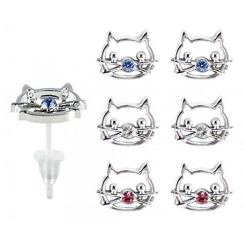 Hypoallergenic Plastic Post Cat Stud Earrings