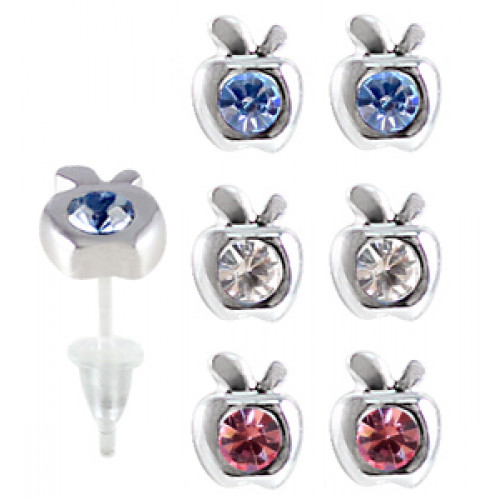 Hypoallergenic Plastic Post Apple Stud Earrings