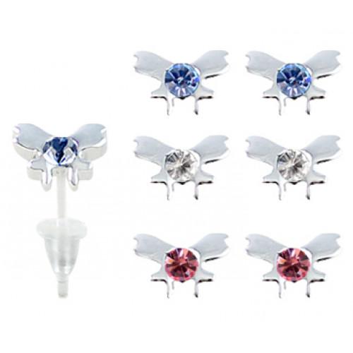 Hypoallergenic Plastic Post Butterfly Stud Earrings