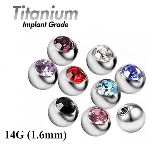 Titanium Implant Grade Threaded Gem Balls 14G (1.6mm) - AAA Laser Cut Crystals