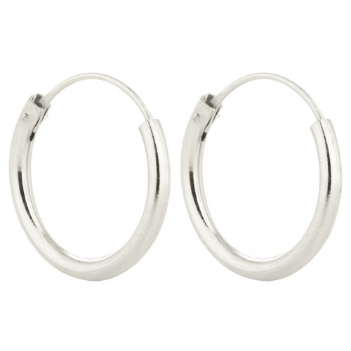Silver Unisex High Polished Round Hoop Earrings - Various Sizes ‐ Quality tested by Sheffield Assay Office England