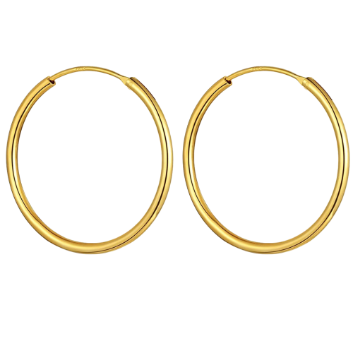 Gold Plated Unisex High Polished Round Hoop Earrings - Big Size 22mm to 60mm ‐ Quality tested by Sheffield Assay Office England
