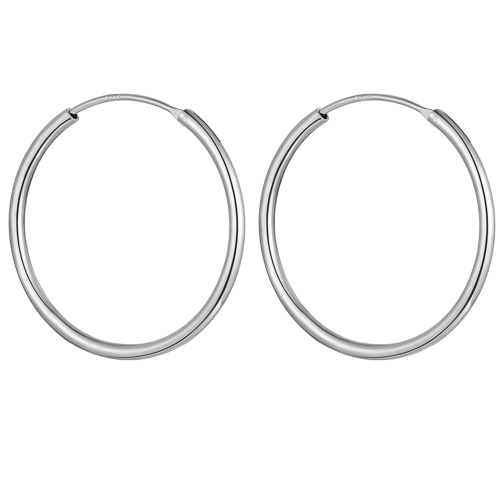 Silver Unisex High Polished Round Hoop Earrings - Big Size 22mm to 60mm ‐ Quality tested by Sheffield Assay Office England