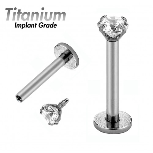 Titanium Implant Grade LABRET WITH SOLITAIRE AAA Laser Cut Round Crystals _intrenally Threaded Gem Ball