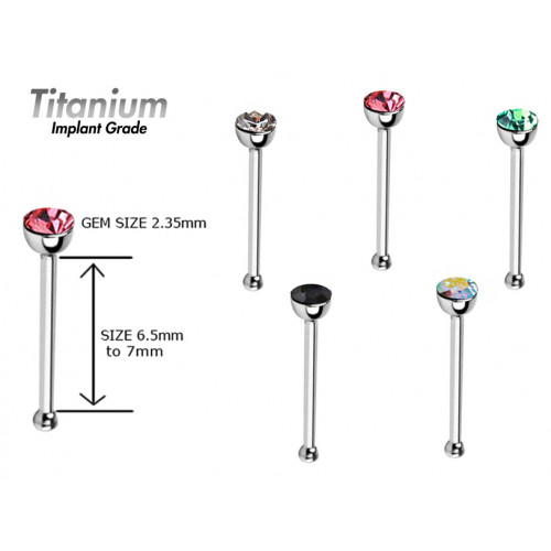 Titanium Implant Grade NOSE PIN - Swarovski Crystals ‐ Quality tested by Sheffield Assay Office England