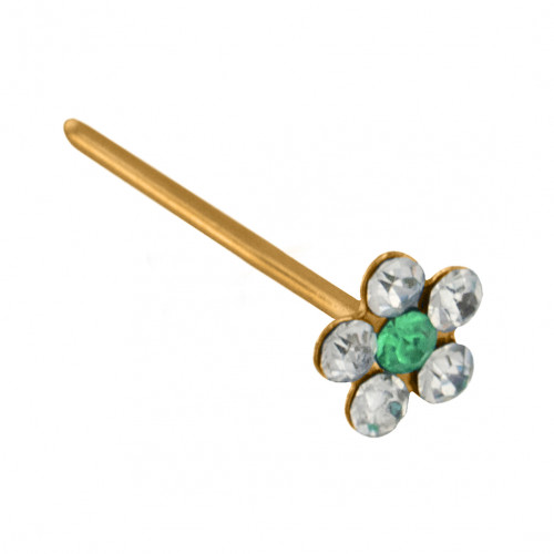 14K Gold Straight Flower Nose Pin with CZ Crystals