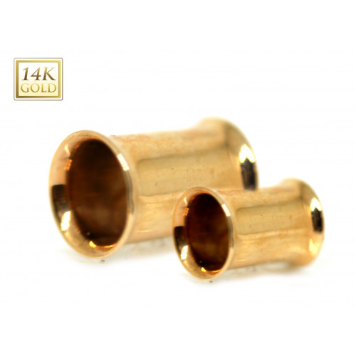 14K GOLD DOUBLE FLARED FLESH TUNNEL