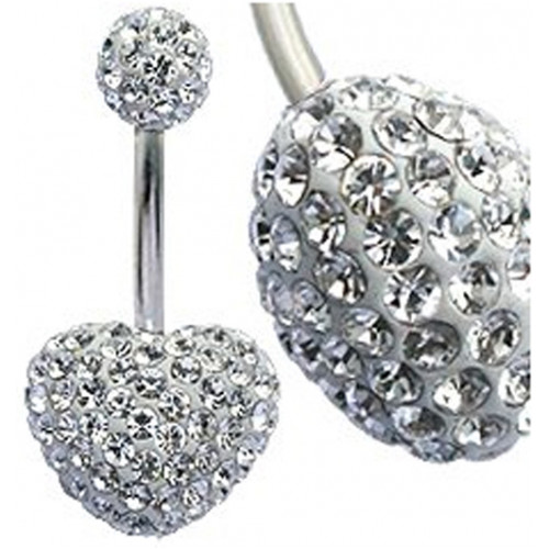 Surgical Steel 316L Multi Crystal Heart Belly Bar - AAA Laser Cut Crystals ‐ Quality tested by Sheffield Assay Office England